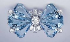 #AquaMarine #Diamond #Bow #Brooch #Pins #jewellery