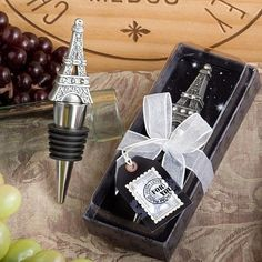<em>From Paris With Love Collection</em> Eiffel Tower Wine Bottle Stopper Favors Paris Baby Shower, Postage Stamp Design, Diy Bottle, Bottle Crafts, Painted Wine Bottles, Expensive Wine, Pewter Color, Wine Bottle Stoppers, Box Design