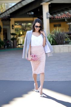 This outfit gave me the idea to wear my light grey shrug, white tank top, pink crochet lace pencil skirt, and white sandals.