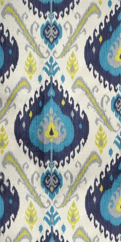 P. Kaufmann Samarkand Peacock Fabric in yellow, gray, turquoise and navy blue