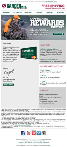 Gander Mountain credit card announcement email