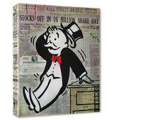 """Hand painted original De La Nuez """"Wall Street Panic"""" KIng of Pop Art Nelson De La Nuez"""