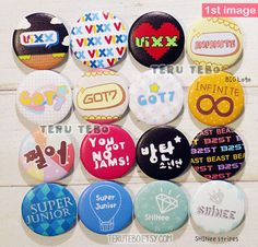 KPOP button pins / super junior  vixx  shinee  beast  by TeruTebo