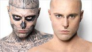 """Follow link to the video ... Rick Genest, the (scarily) inked up dude from the Lady Gaga music video who's got a full body of tattoos, gets them completely covered using an amazing product from """"Dermablend"""". You'd never know he had any tats at all!"""