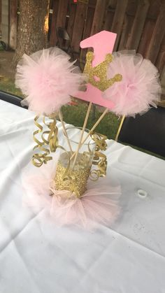1st Birthday Princess, 1st Birthday Tutu, Ballerina Birthday Parties, 1st Birthday Cakes, Girl First Birthday, Princess Party, First Birthday Parties, 1st Birthday Centerpieces, Princess Centerpieces