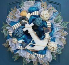 Nautical Wreath, Deco mesh wreath, summer deco mesh wreath, beach wreath, Everyday wreath by WonderfulWreathsKim on Etsy https://www.etsy.com/listing/193383517/nautical-wreath-deco-mesh-wreath-summer