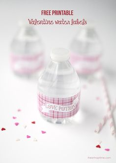 Free printable Valentine water labels