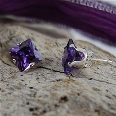 $24.95 A substantial and nicely cut amethyst adorns each ear and will be an all-time favorite. It is the traditional birthstone for February and is a favorite of just about everyone for amethyst's sultry color and warm glimmer.
