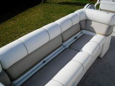 Keep your fishing boat seats squeaky tidy! Fishing Boat Seats, Pontoon Boat Seats, Fishing Boats, Pontoon Boating, Pontoon Boat Furniture, Floating Boat Docks, Seat Cleaner, Best Boats, Wooden Boat Plans
