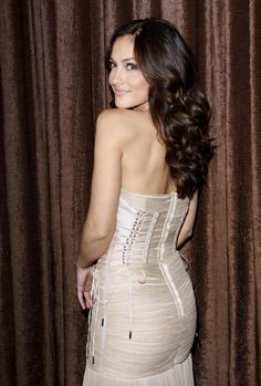 Minka Kelly booty in a strapless white dress