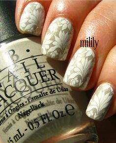 OPI Skull & Glossbones topped with ChG White Cap and stamped (RA-109). S w/ White Cap