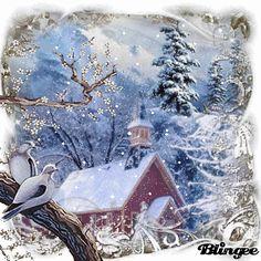 Winter Morning Church and woodpigeons. Merry Christmas Gif, Christmas Scenes, Vintage Christmas Cards, Christmas Art, Christmas Photos, Beautiful Christmas, Winter Christmas, All Things Christmas, Winter Snow