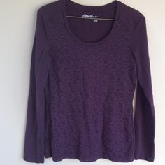 Brown pullover long sleeve top. Long sleeve pullover top. Lightweight. Has lace  overlay layer on front,  Gently worn nice condition. Women's size. Eddie Bauer Tops Tees - Long Sleeve
