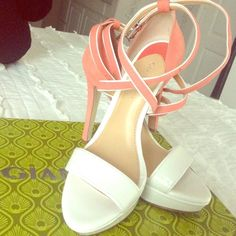 Gianni Bini pink and white strappy heels These heels are a lovely salmon color in the back, and a white toe/platform in the front. Wrap around the ankle. Never worn Gianni Bini Shoes Heels