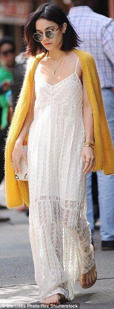 Vanessa Hudgens slips into a gossamer-thin white lace dress as she strolls around New York | Daily Mail Online