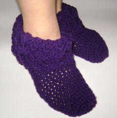 Purple crochet slippers for women. by RiaCrochetCreations on Etsy, €17.20