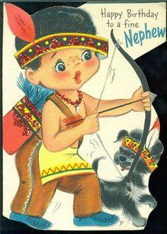 Vintage 1959 Hallmark Greeting Card HAPPY BIRTHDAY NEPHEW Indian Bow Arrow Puppy