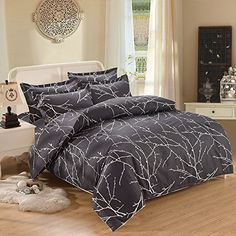 3pcs Duvet Cover Set, Tree Branches Pattern Printed on Charcoal Dark Gray/Grey, Soft Microfiber Bedding (King Size)