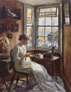 """Stanhope Forbes, """"The Harbour Window"""" (1910)"""