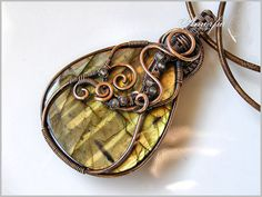 Labradorite and bronze wire wrapped pendant by amorfia on Etsy, $90.00