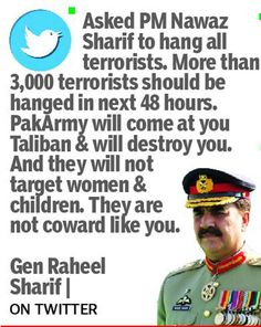 UVERSE NEWS: Hang 3,000 terrorists in 48 hours: Pak army chief ...