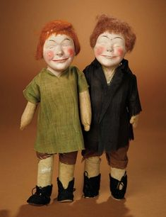 "Bread and Roses - Auction - July 26, 2016: 306 Rare Pair of Paper Mache ""Bistro Kids"" Promotional Dolls for Bistro Gravy"
