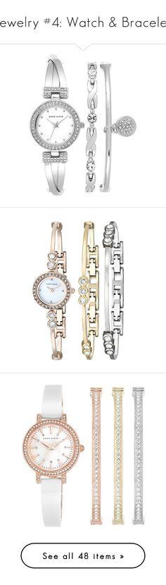 """Jewelry #4: Watch & Bracelet"" by myrnalankreijer ❤ liked on Polyvore featuring jewelry, bracelets, watches, accessories, relogios, silver, silver bangle set, silver bracelets bangles, silver jewellery and swarovski crystal bangle bracelet"