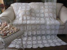 Vintage White 3D Popcorn Crochet  Bedspread Coverlet Trow Full Twin 64x80 #1of 2