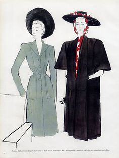 Jeanne Lafaurie Couture — Images and vintage original prints French Fashion, Fashion Art, Retro Fashion, Vintage Fashion, Jeanne Lafaurie, Rene Gruau, Military Looks, Magazine Mode, Fashion Sketches
