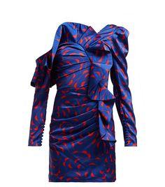 Self-Portrait Ruffled Off The Shoulder Satin Mini Dress - Womens - Navy Multi Fashion 2018, Pop Fashion, Fashion Outfits, Self Portrait Dress, Satin Mini Dress, Ruffle Dress, Kpop Outfits, Pattern Fashion, Blue Dresses