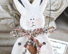 Personalized Bunny Easter Decorations Primitive Bunny Salt Dough Ornament Basket Fillers Rabbit Ornament