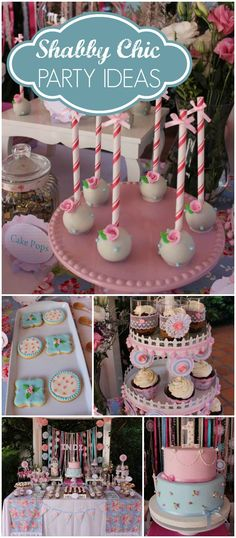 What a pretty shabby chic party! Gorgeous cake pops and cookies! See more party ideas at CatchMyParty.com!
