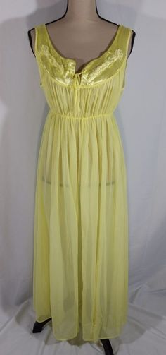 d21ce3eaf10ca Vintage GMc Sheer Nylon Peignoir Nightgown Sz L Yellow Satin Yoke Shirred  USA  GMc Good