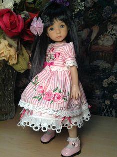 Sombrero resbalones y Effner Little Darling 'Rayas y rosas'