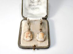 ANTIQUE 9CT ROSE GOLD CARVED SHELL CAMEO DROP EARRINGS