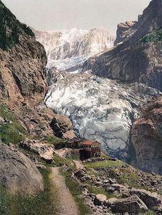 Glacier and Bäregg Inn, Grindelwald, Bernese Oberland, Switzerland.