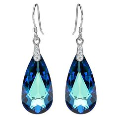 d16696db5 Amazon.com: EleQueen 925 Sterling Silver CZ Teardrop French Hook Dangle  Earrings Bermuda Blue Adorned with Swarovski Crystals: Jewelry