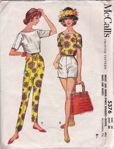"McCalls 5376, dated 1960. Pullover, tuck-in blouse with wide tuck-in ""split level"" effect, tapered pants and short shorts. Boat neck blouse has unmounted sleeves in choice of 2 lengths. Shorts and pants are dart fitted at top, have left side zipper closing, pocket in right side seam."