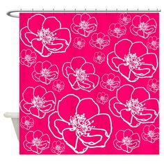 Floral Shower Curtain - pink, roses