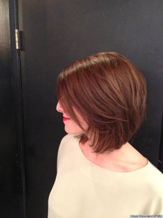 Beautiful bob with layers Mine will never be straight- will this work?   Love the angle, maybe slightly longer in front