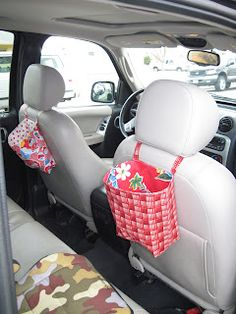 Kid bag for back of front seats in the car. Keep down the clutter :)