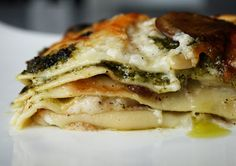 Sooo good, no meat, Mushroom Pesto Lasagna !
