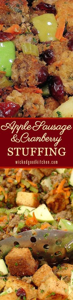 Apple Sausage and Cranberry Stuffing is fresh, savory, tart, sweet and festive. It is the perfect stuffing for Thanksgiving or Christmas Holiday meals! It will rock your ever-loving turkey stuffing world! Thanksgiving Dinner Menu, Thanksgiving Sides, Holiday Dinner, Thanksgiving Recipes, Fall Recipes, Holiday Recipes, Thanksgiving Dressing, Italian Thanksgiving, Stuffing Recipes For Thanksgiving