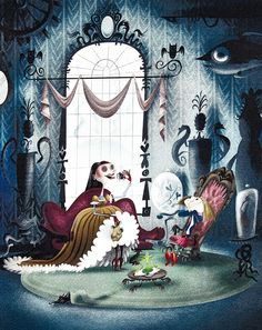 Early original concept, showcasing the Other Mother eating spiders in front of a mortified Coraline. Artist unidentified.