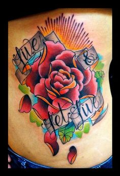 Tattoos : Traditional Old School : Traditional Color Rose flower Custom Tattoo Traditional Tattoo Colours, Traditional Bear Tattoo, Scar Tattoo, Note Tattoo, Tattoo Pics, Top Tattoos, Flower Tattoos, Tatoos, Rose Tattoo On Back