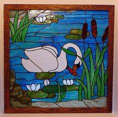 Lothlorien Stained Glass Panel window swan by TreasuresOfLight