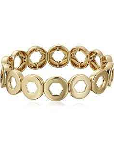 "Kensie ""Cherry Blossom Girl"" Gold-Plated Hexagon Cutout Stretch Bracelet ❤ Kensie Jewelry"