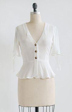 cd178dfec1f4ed Feminine Vintage Style Top / French Girl Style / Veronique Blouse – Adored  Vintage Fransk Pige