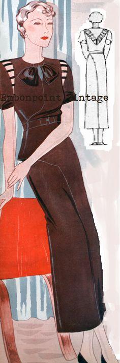 Plus Size (or any size) Vintage 1934 Dress Sewing Pattern - PDF - Pattern No 1507 P. $9.50, via Etsy.