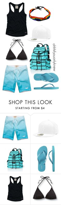"""Untitled #109"" by ohhhifyouonlyknew ❤ liked on Polyvore featuring Hollister Co., Victoria's Secret, Old Navy, Quiksilver, boardshorts, my creations, beach, flip flops and my style"